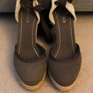 Aldo Brand New Brown Wedge Espadrilles